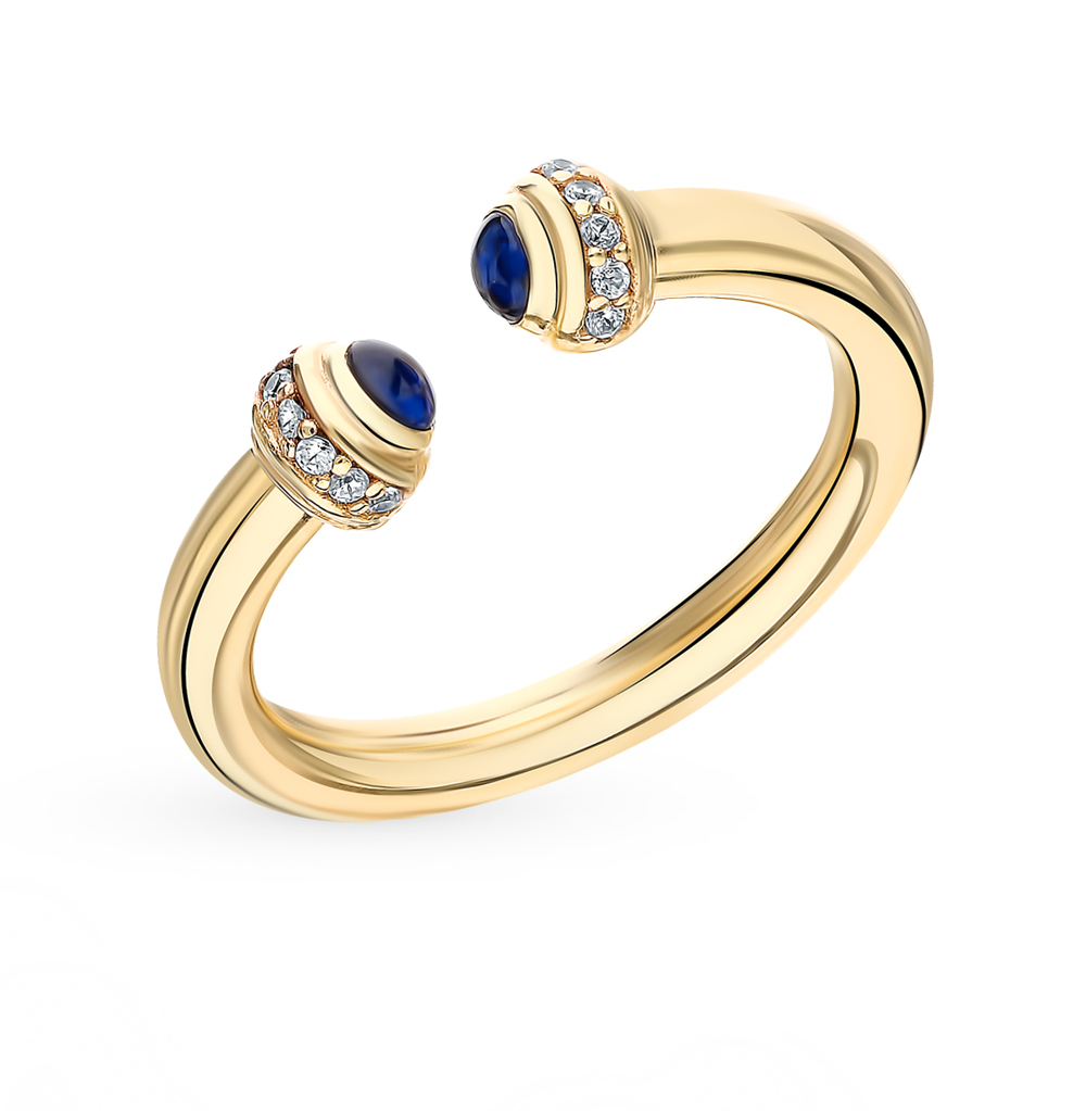 серебряное кольцо со шпинелью и фианитами