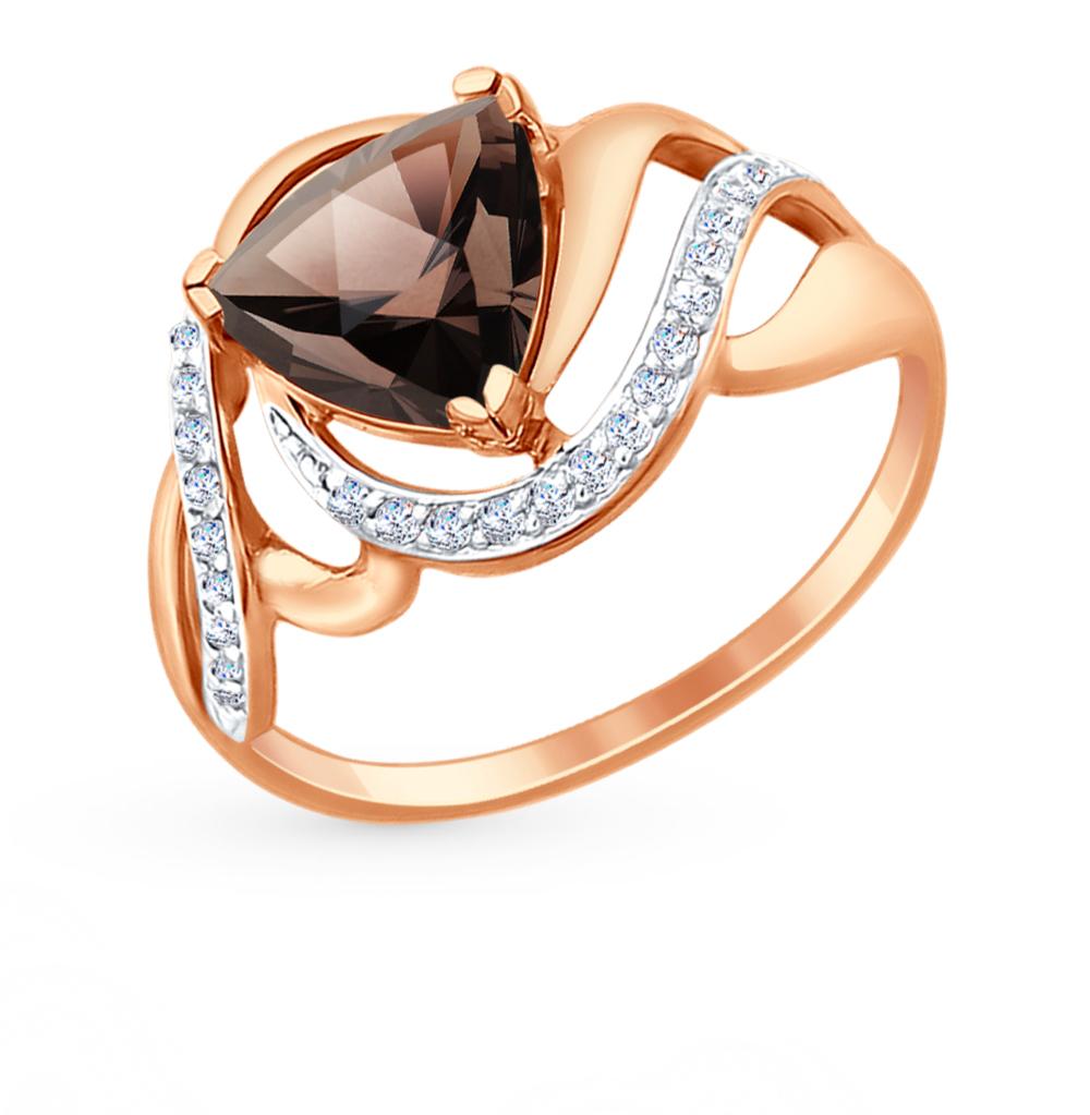 золотое кольцо с раухтопазами и фианитами SOKOLOV 714725*