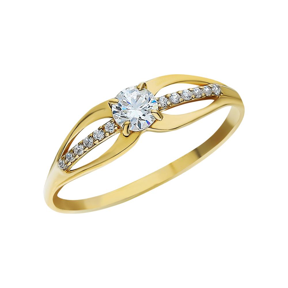 Фото «Золотое кольцо с фианитами и фианитами swarovski»