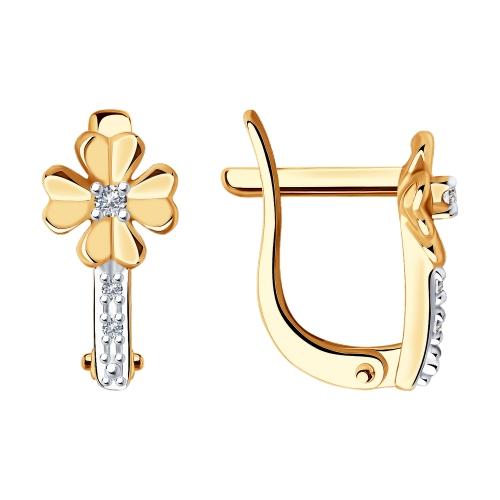 Фото «Золотые серьги с бриллиантами SOKOLOV 1021455»