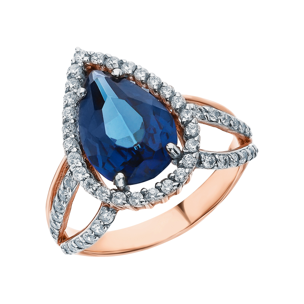 Фото «Золотое кольцо с топазами и кубическими циркониями»
