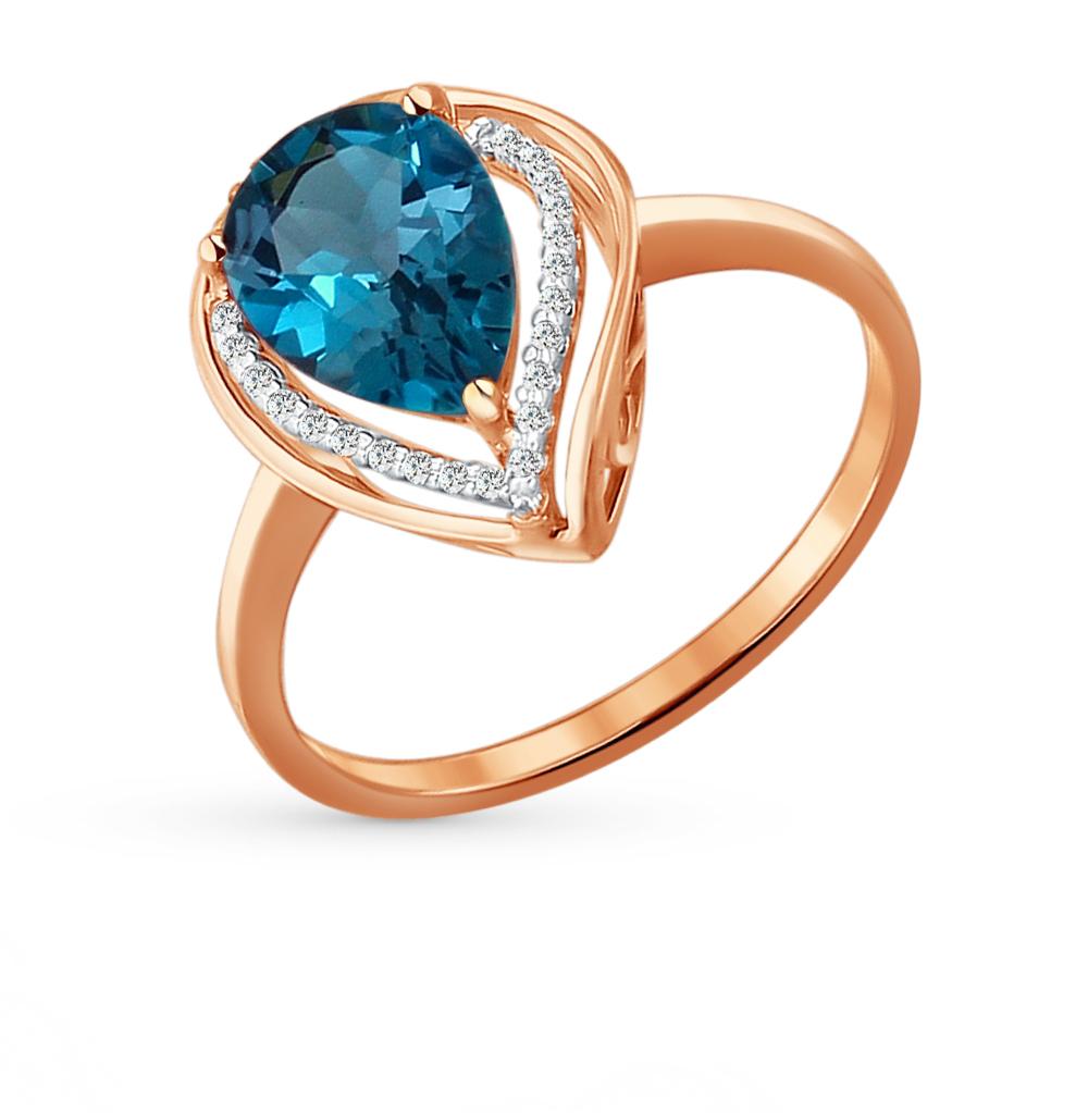 золотое кольцо с топазами и фианитами SOKOLOV 713928*