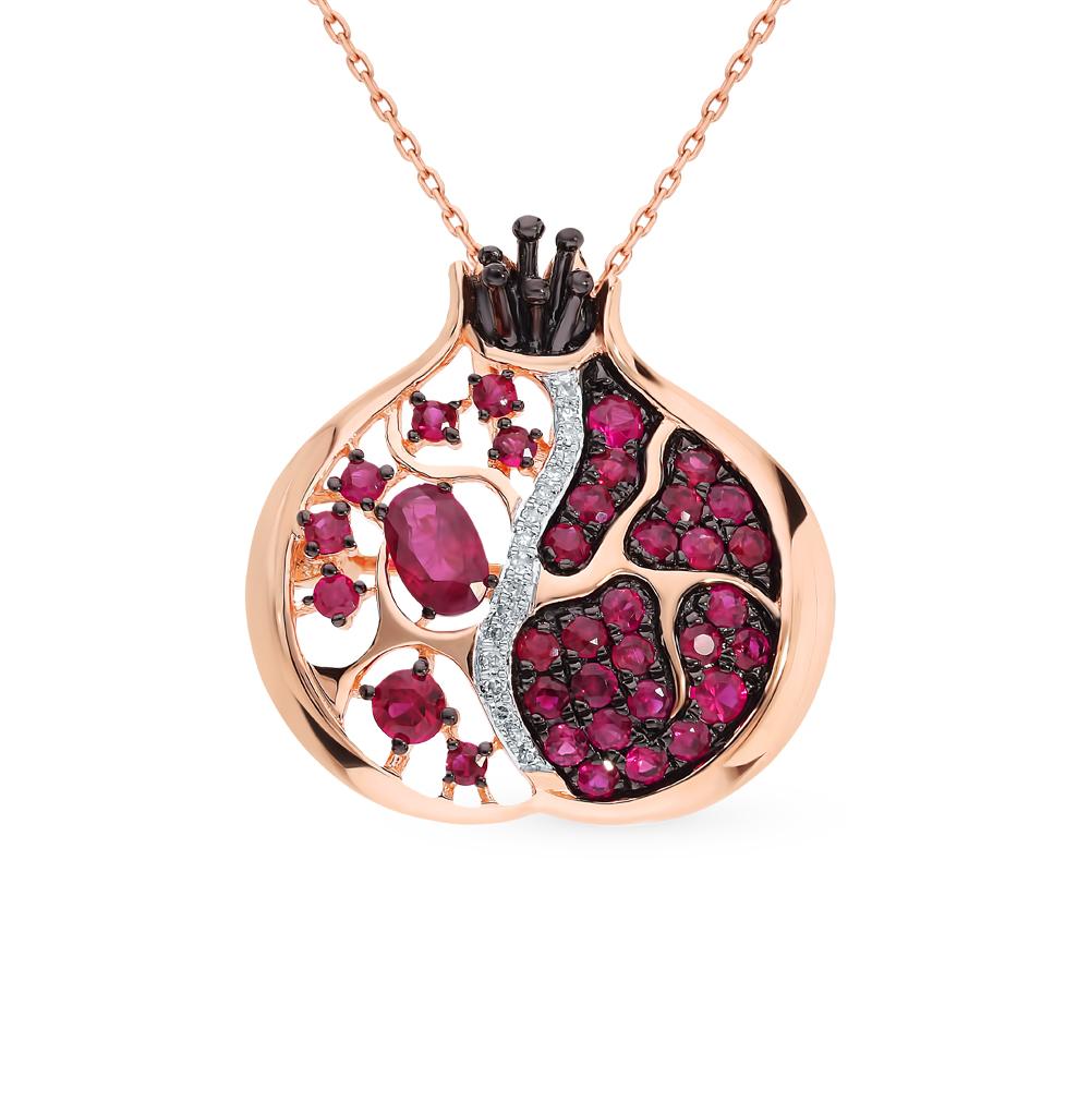 Золотая брошь с рубином и бриллиантами