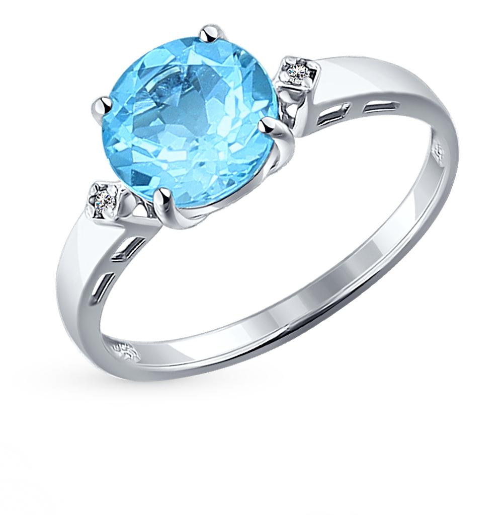 Серебряное кольцо с топазами и фианитами SOKOLOV 92011012 в Екатеринбурге