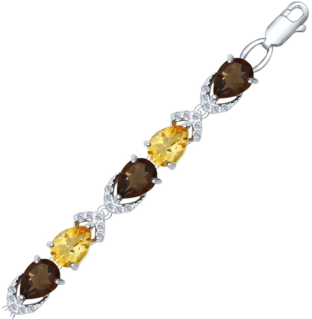 серебряный браслет с раухтопазами, фианитами и цитринами SOKOLOV 92050108