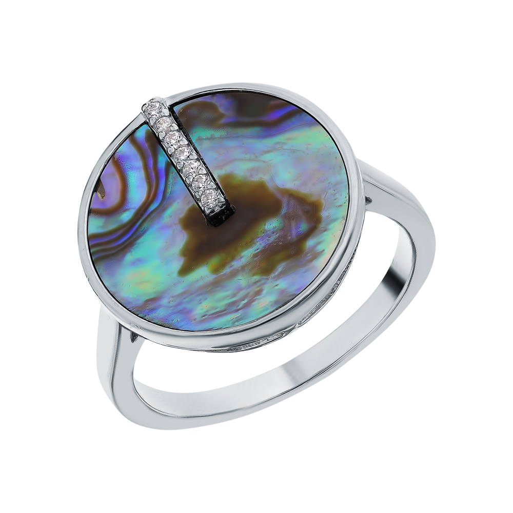 Серебряное кольцо с фианитами и ракушками в Екатеринбурге