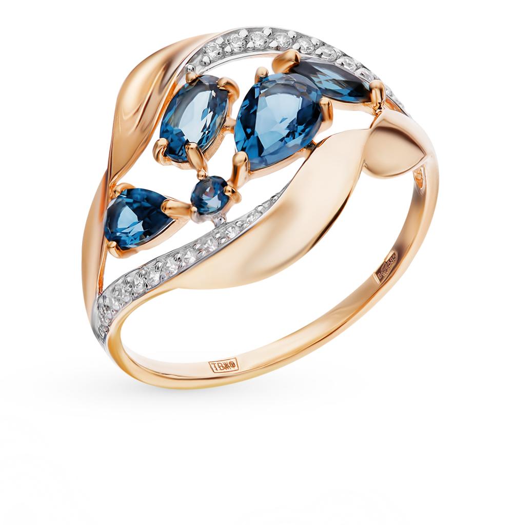 золотое кольцо с топазами SOKOLOV 714729*