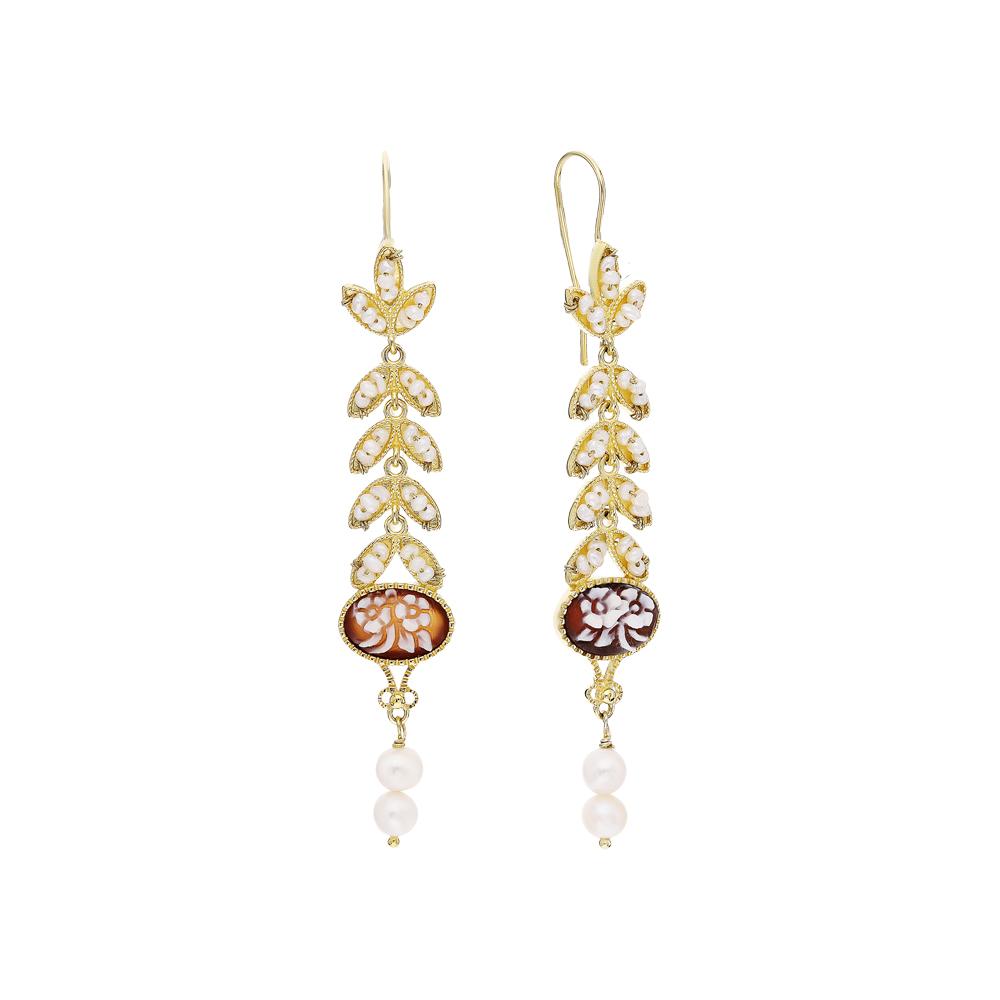 Фото «Серебряные серьги с жемчугом и камеями»