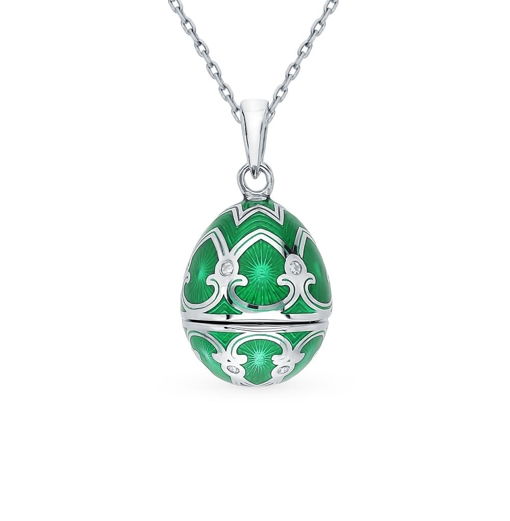 Серебряное шейное украшение с фианитами, эмалью и бриллиантами в Санкт-Петербурге