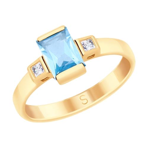 Фото «Золотое кольцо с топазами и фианитами SOKOLOV 715210*»