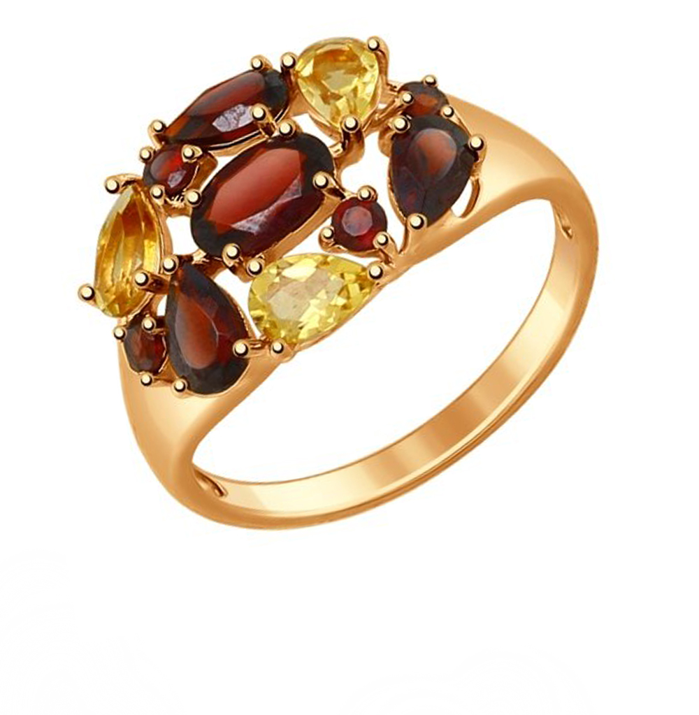 серебряное кольцо с гранатом и цитринами SOKOLOV 92011385