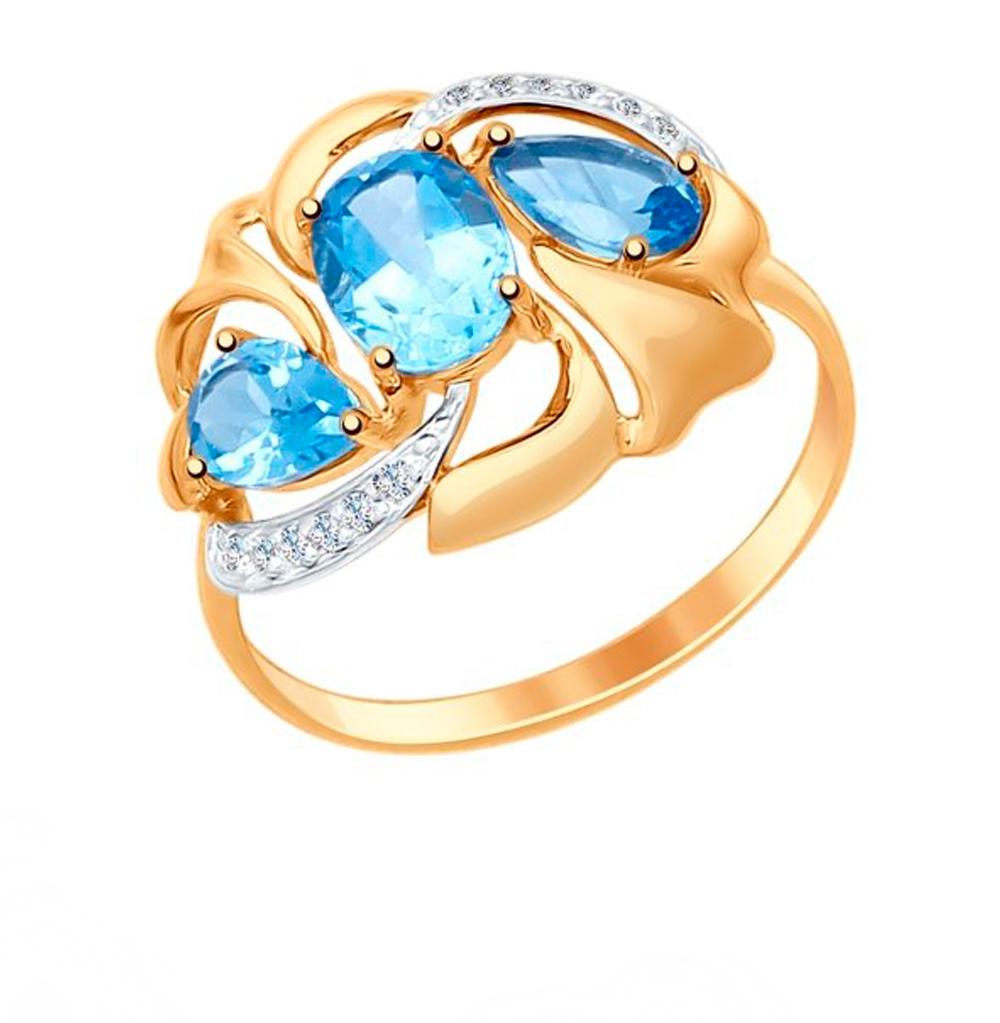 Фото «Золотое кольцо с топазами и фианитами SOKOLOV 714766*»