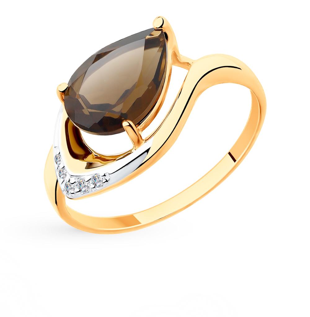 золотое кольцо с раухтопазами и фианитами SOKOLOV 715521*