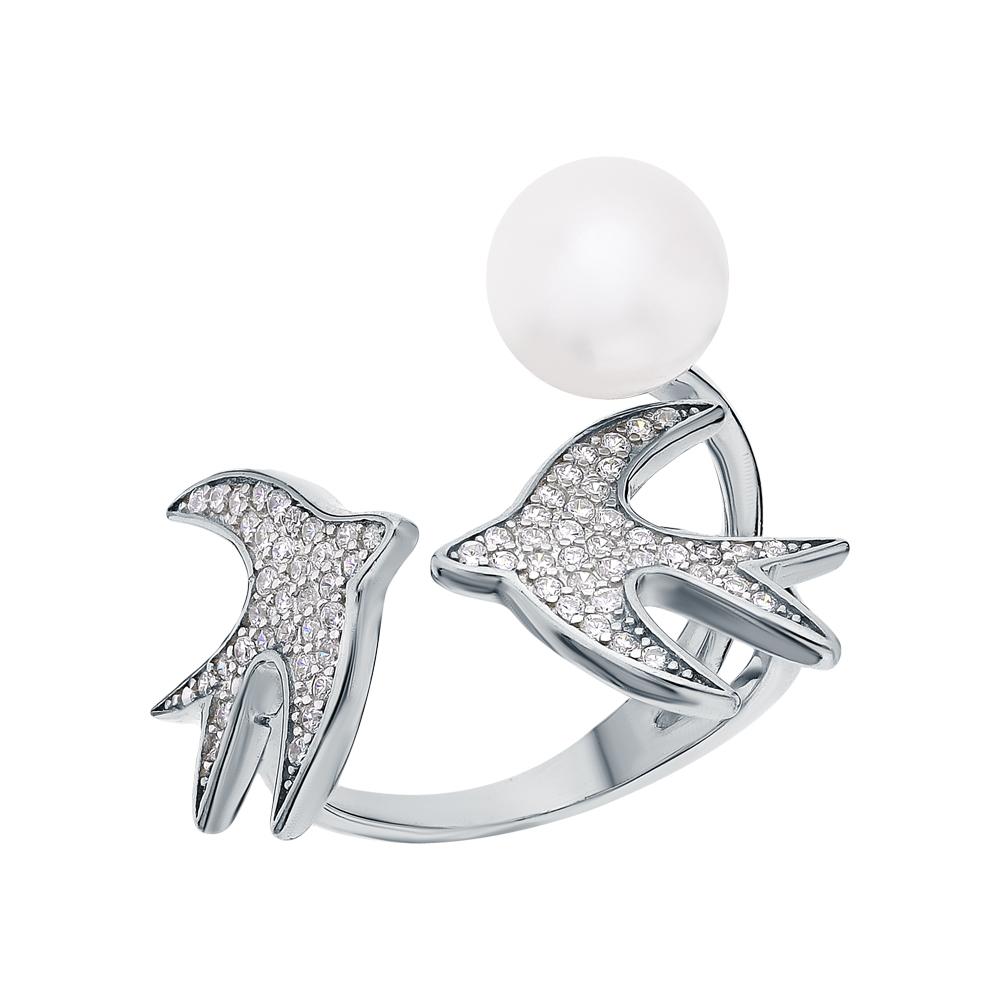 Серебряное кольцо с фианитами и жемчугами культивированными в Санкт-Петербурге