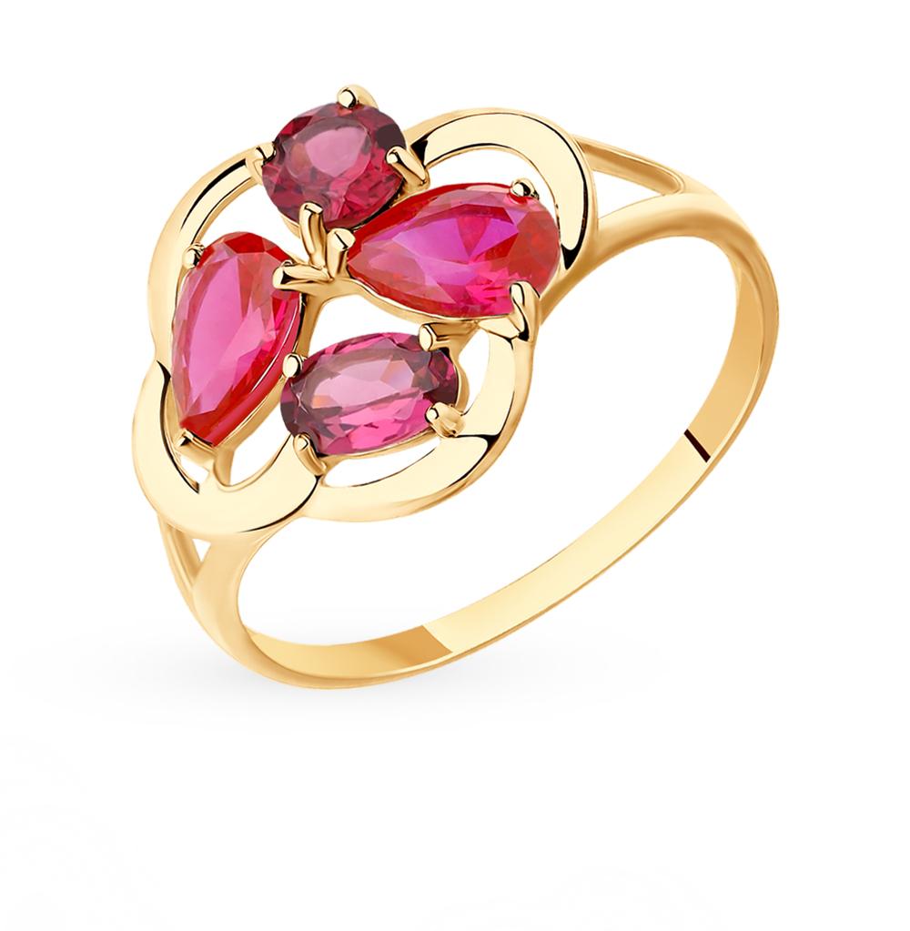 Фото «Золотое кольцо с родолитами и корундом SOKOLOV 715395*»