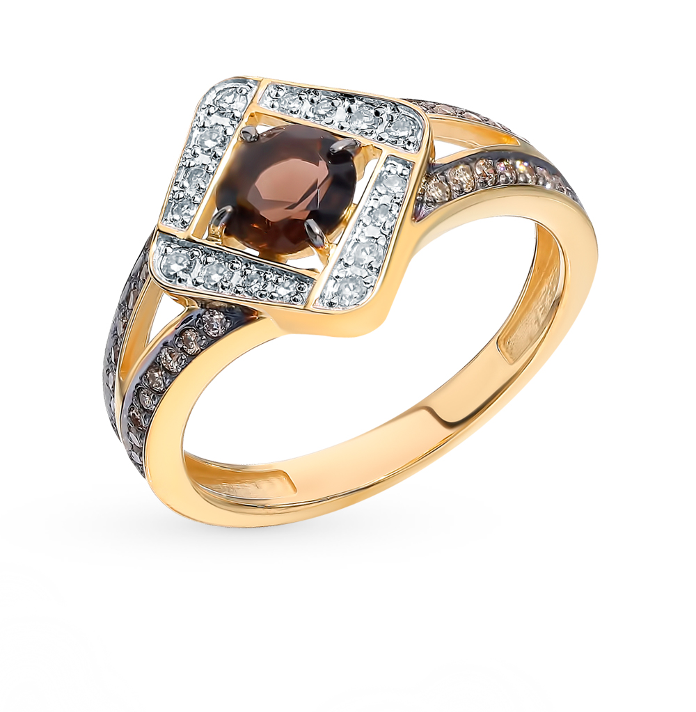 Фото «Золотое кольцо с коньячными бриллиантами и раухтопазом»