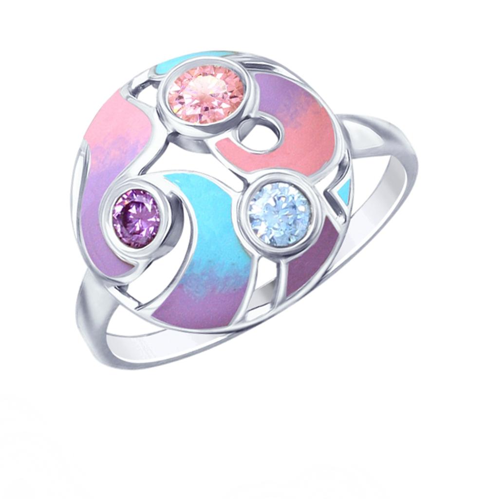 Фото «Серебряное кольцо с фианитами и эмалью SOKOLOV 94012796»