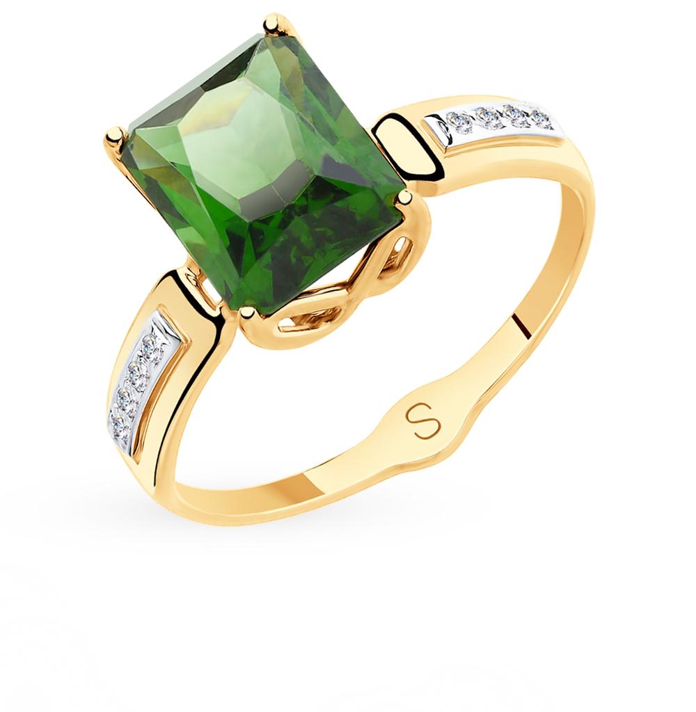 золотое кольцо с фианитами и ситаллами SOKOLOV 715414*