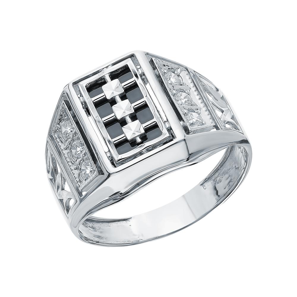 Серебряное кольцо с ониксом и кубическими циркониями в Екатеринбурге