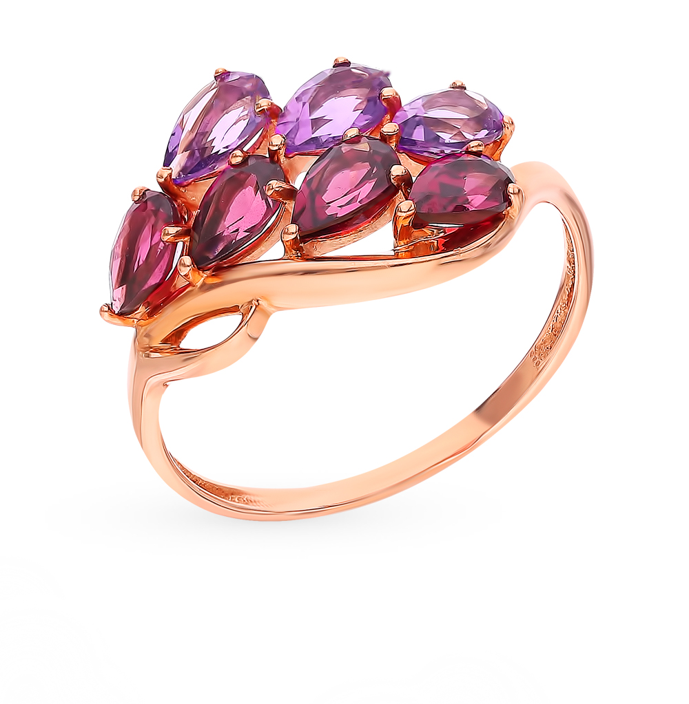 Золотое кольцо с родолитами и аметистом в Санкт-Петербурге