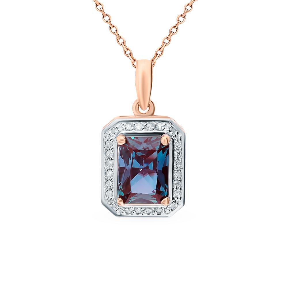 Фото «Золотая подвеска с александритом и бриллиантами»