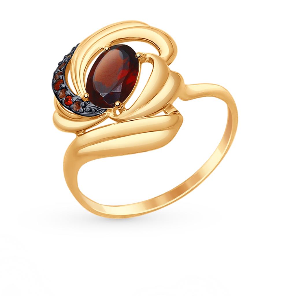 Фото «Золотое кольцо с фианитами и гранатом SOKOLOV 714740*»