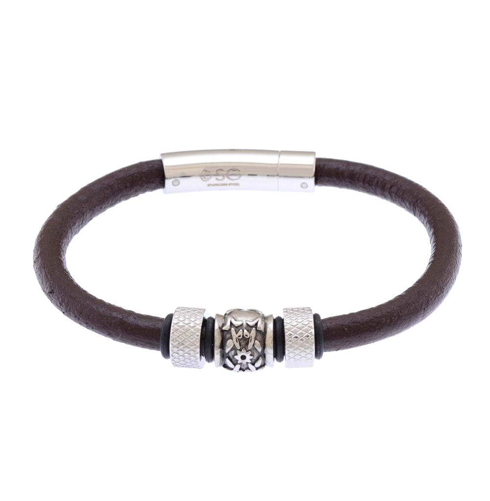 Фото «Кожаный браслет со сталью и каучуком»
