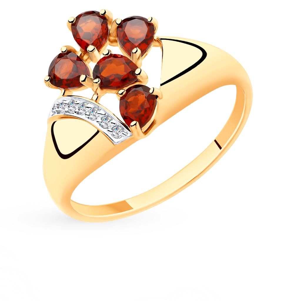Золотое кольцо с фианитами и гранатом SOKOLOV 715491* в Екатеринбурге