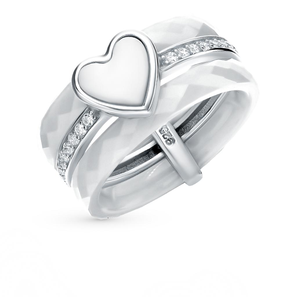 серебряное кольцо с керамикой, алпанитом и фианитами