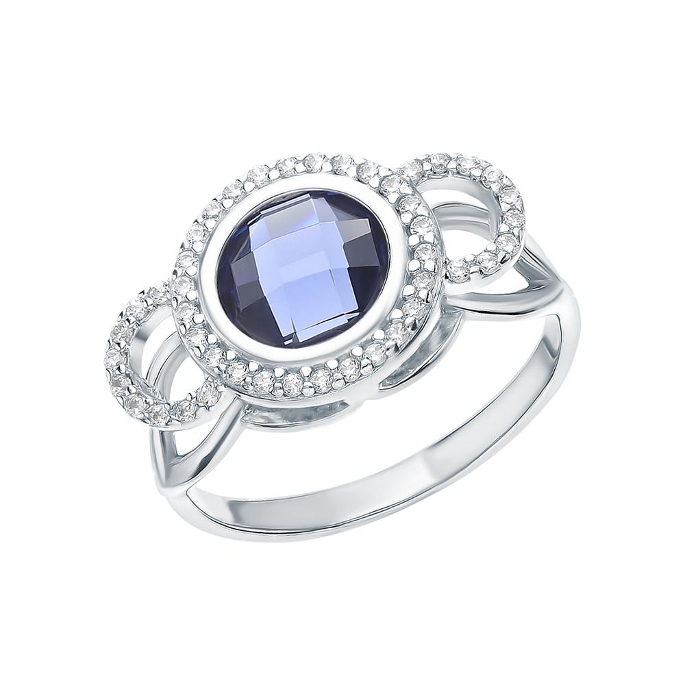 Серебряное кольцо с фианитами и танзанитами синтетическими в Екатеринбурге