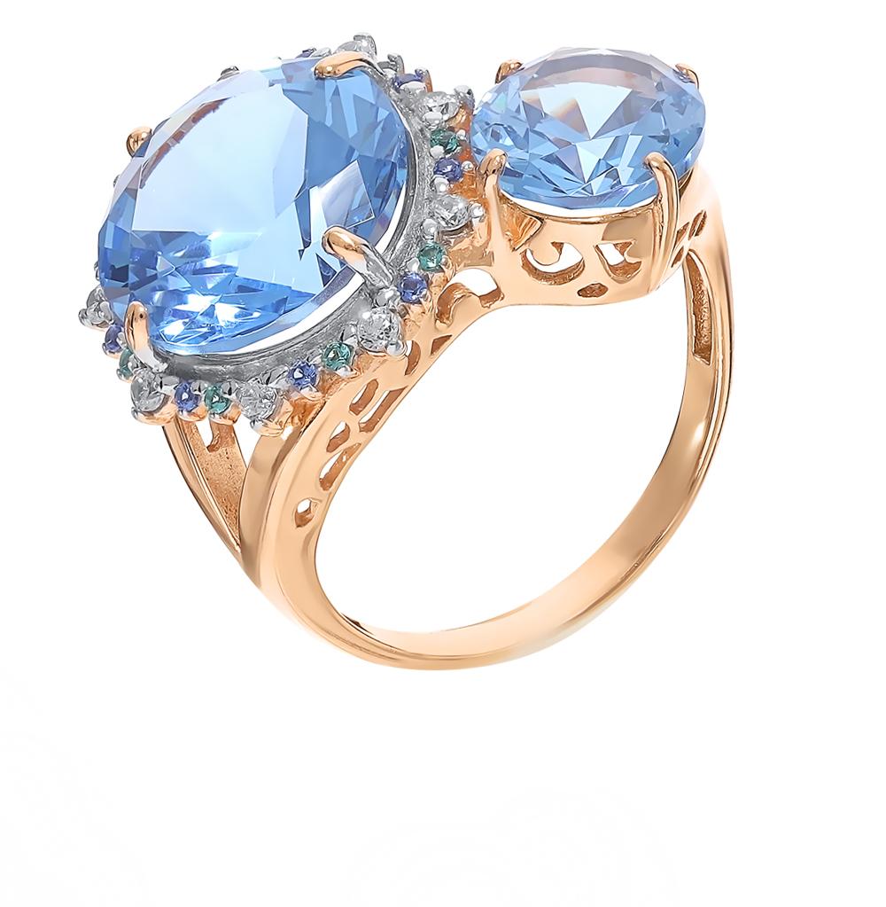 Фото «Серебряное кольцо с нанокристаллами, сапфирами, топазами, фианитами и изумрудами»