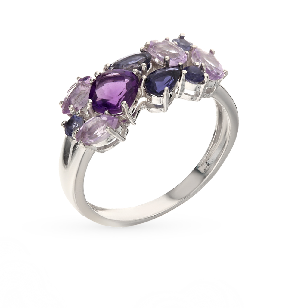 Фото «серебряное кольцо с иолитом и аметистом»