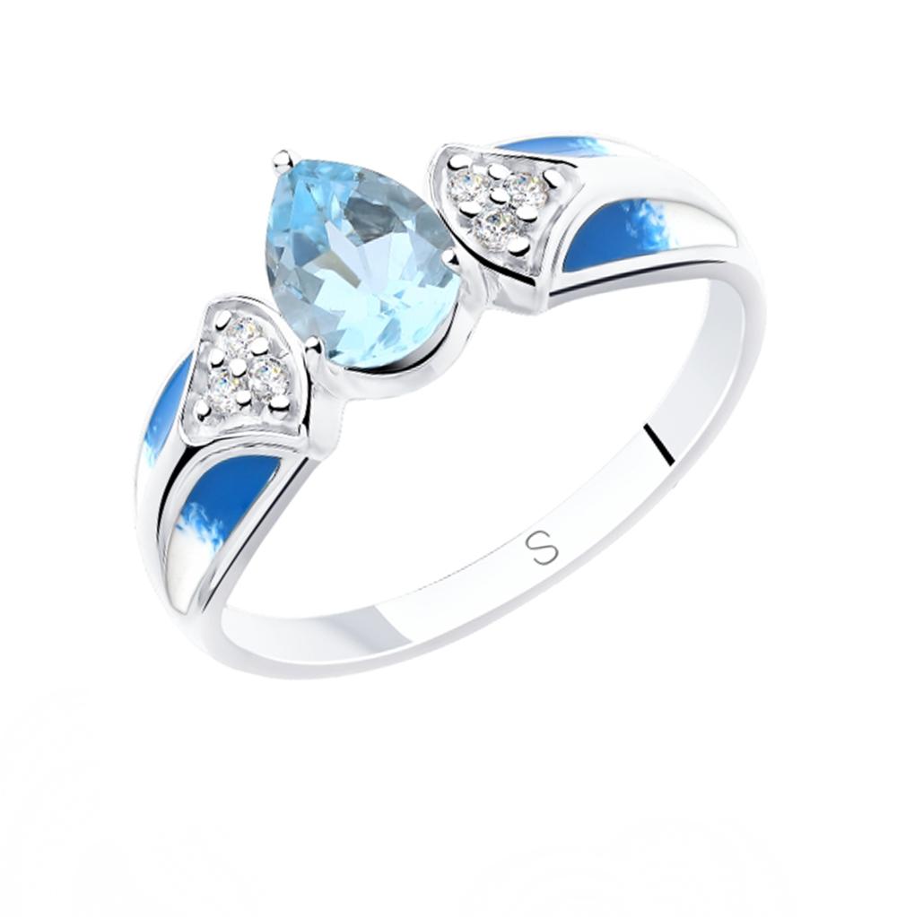 Фото «Серебряное кольцо с топазами, фианитами и эмалью SOKOLOV 92011800»