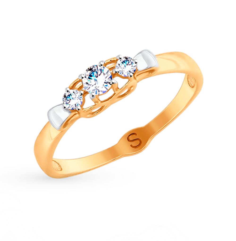 Фото «Золотое кольцо с фианитами SOKOLOV 017866»