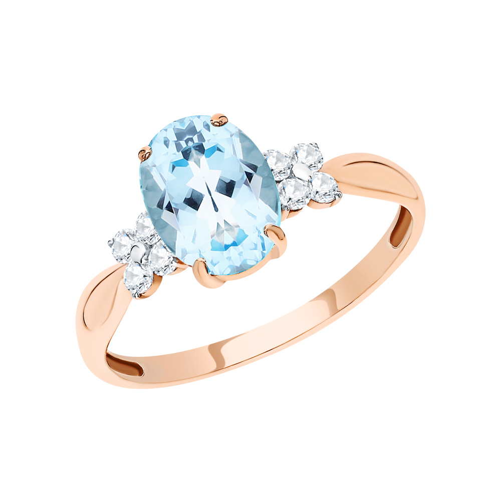 Золотое кольцо с топазами и фианитами в Екатеринбурге