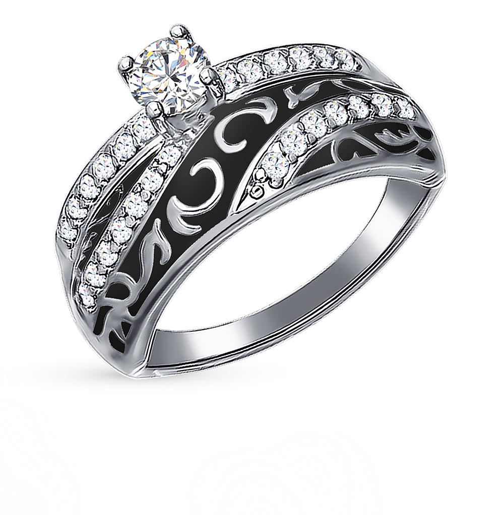 серебряное кольцо с фианитами и эмалью SOKOLOV 94011133