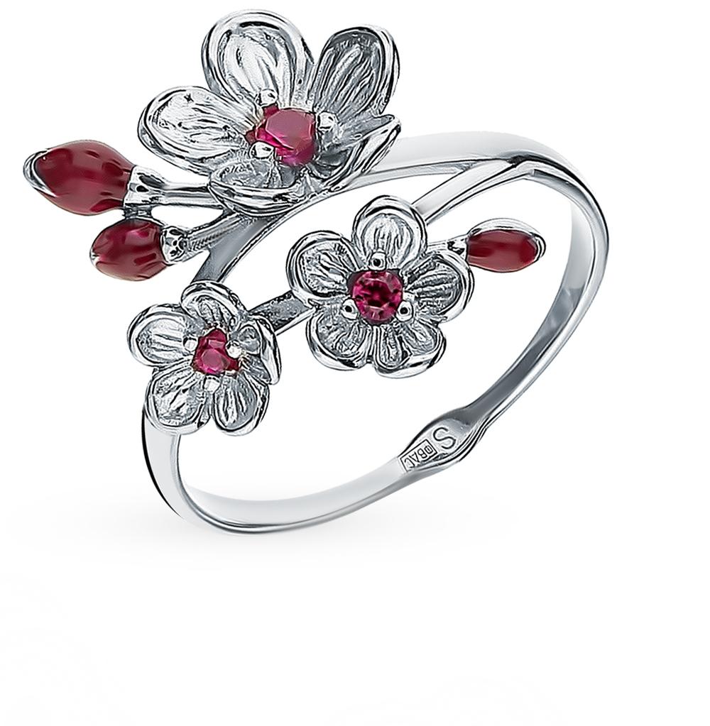 Серебряное кольцо с корундом и эмалью SOKOLOV 94012856 в Екатеринбурге