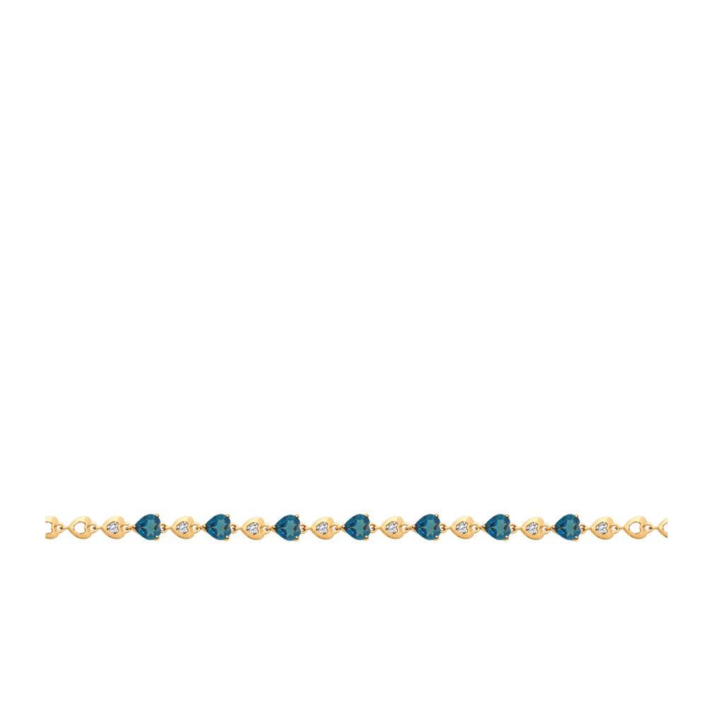 золотой браслет с топазами и фианитами SOKOLOV 750274*
