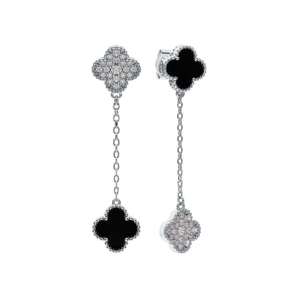 Фото «Серебряные серьги с ониксом и фианитами»