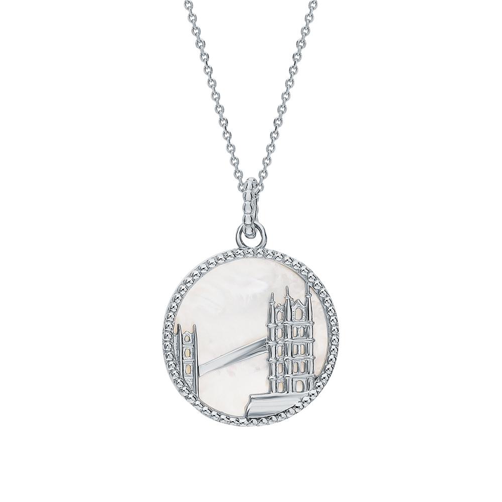Серебряное шейное украшение с перламутром в Санкт-Петербурге