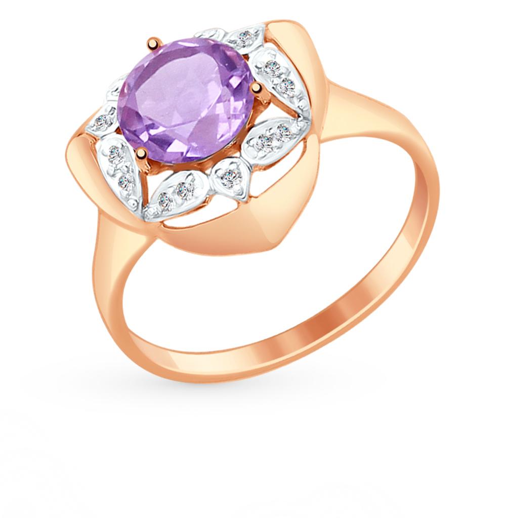 Фото «Золотое кольцо с аметистом и фианитами SOKOLOV 714880*»