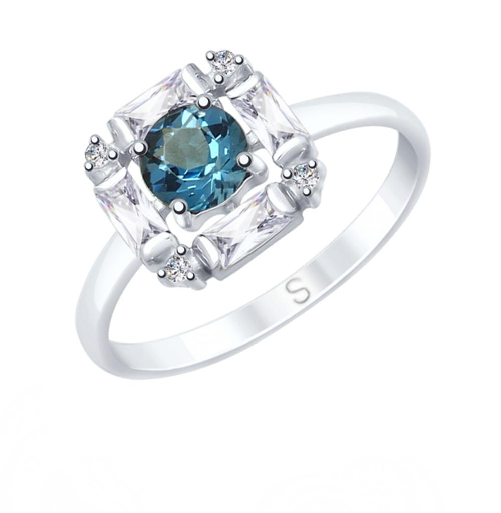 серебряное кольцо с топазами и фианитами SOKOLOV 92011682