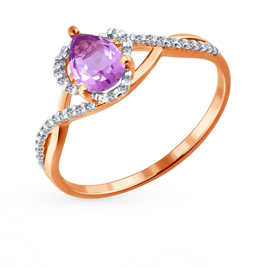 золотое кольцо с аметистом и фианитами SOKOLOV 713818*