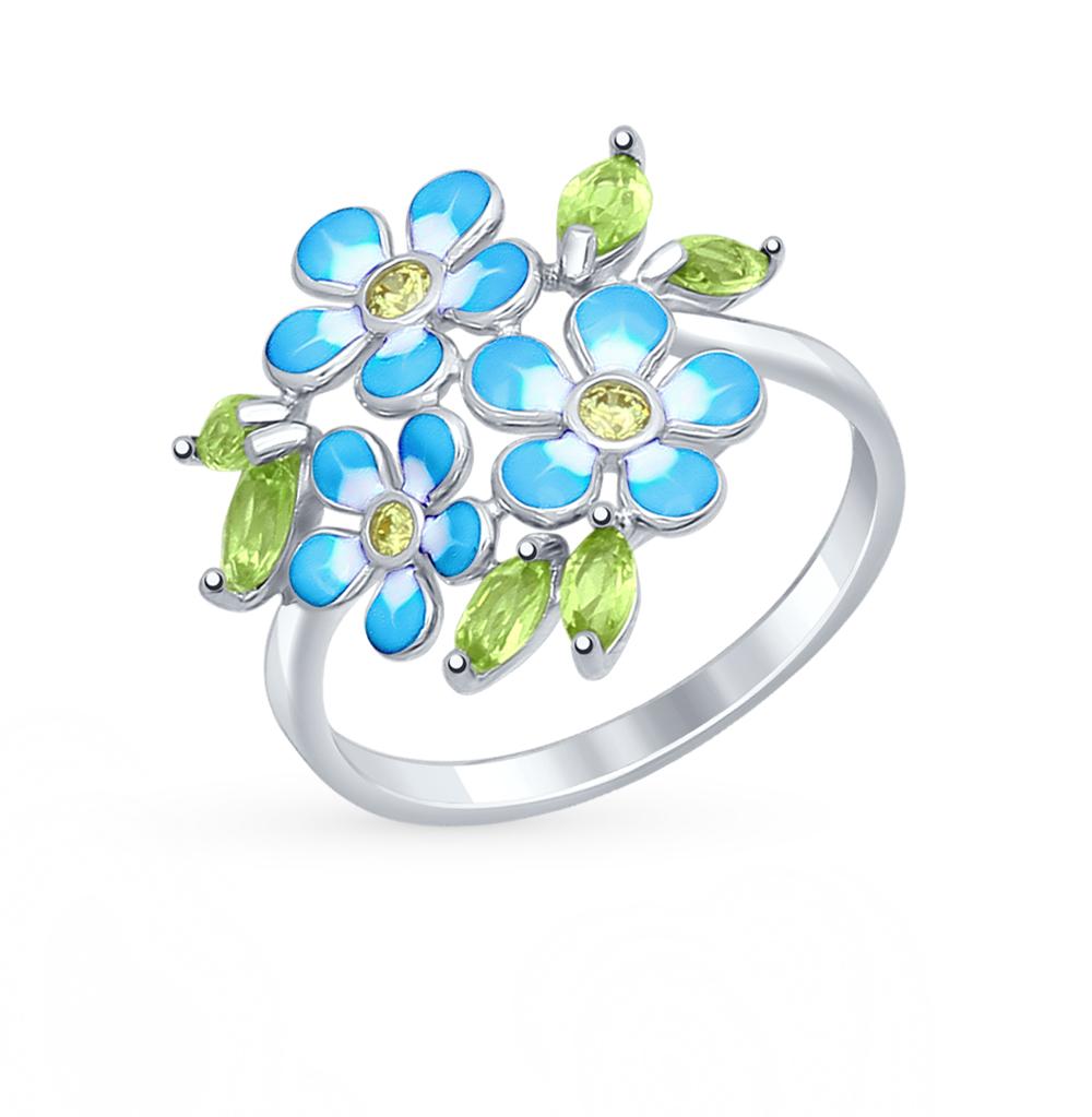 Серебряное кольцо с хризолитом, фианитами и эмалью SOKOLOV 92011321 в Санкт-Петербурге