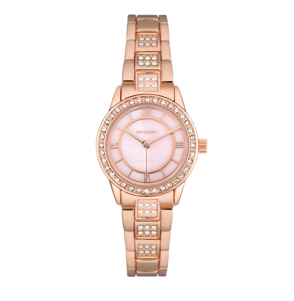 Женские часы с перламутром и кристаллами на металлическом браслете в Екатеринбурге
