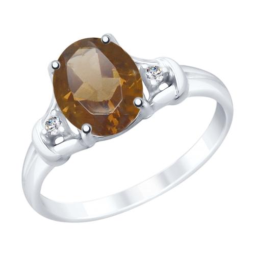 Фото «Серебряное кольцо с раухтопазами и фианитами SOKOLOV 92011786»