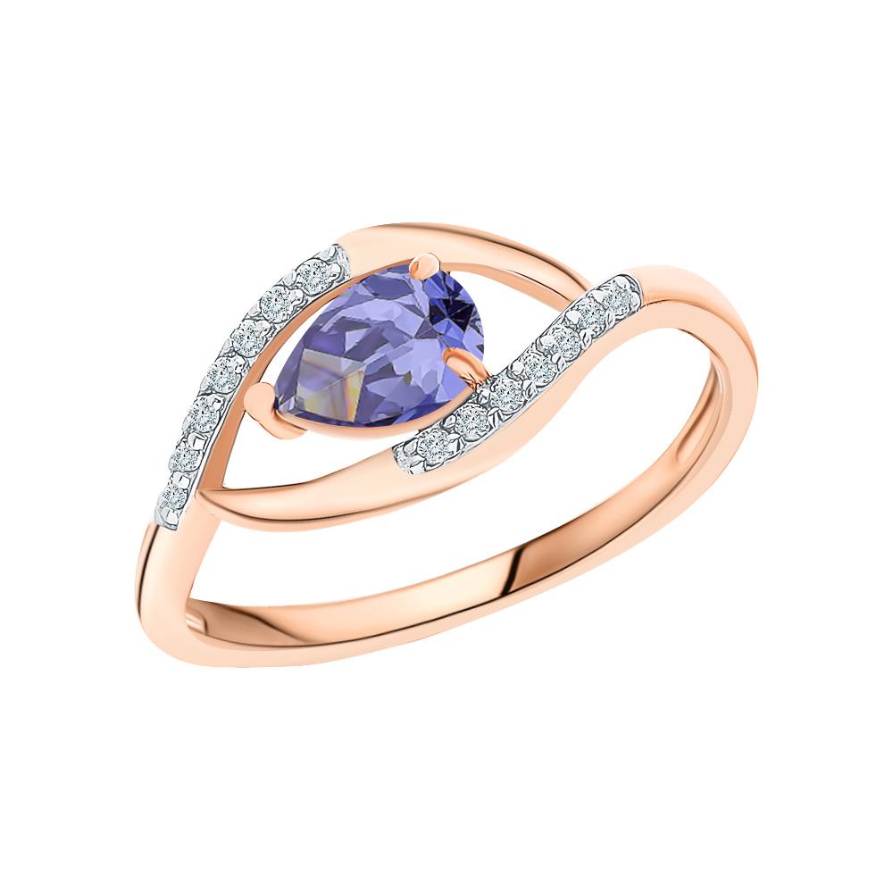 Фото «Золотое кольцо с фианитами и ситаллами»