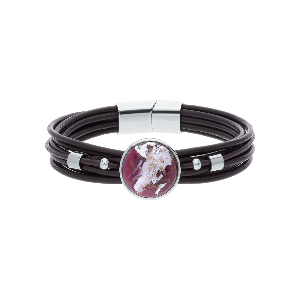 Фото «Кожаный браслет с муранским стеклом»