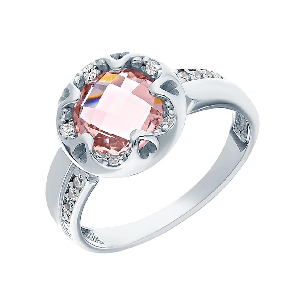 Фото «Серебряное кольцо с морганитами и фианитами»