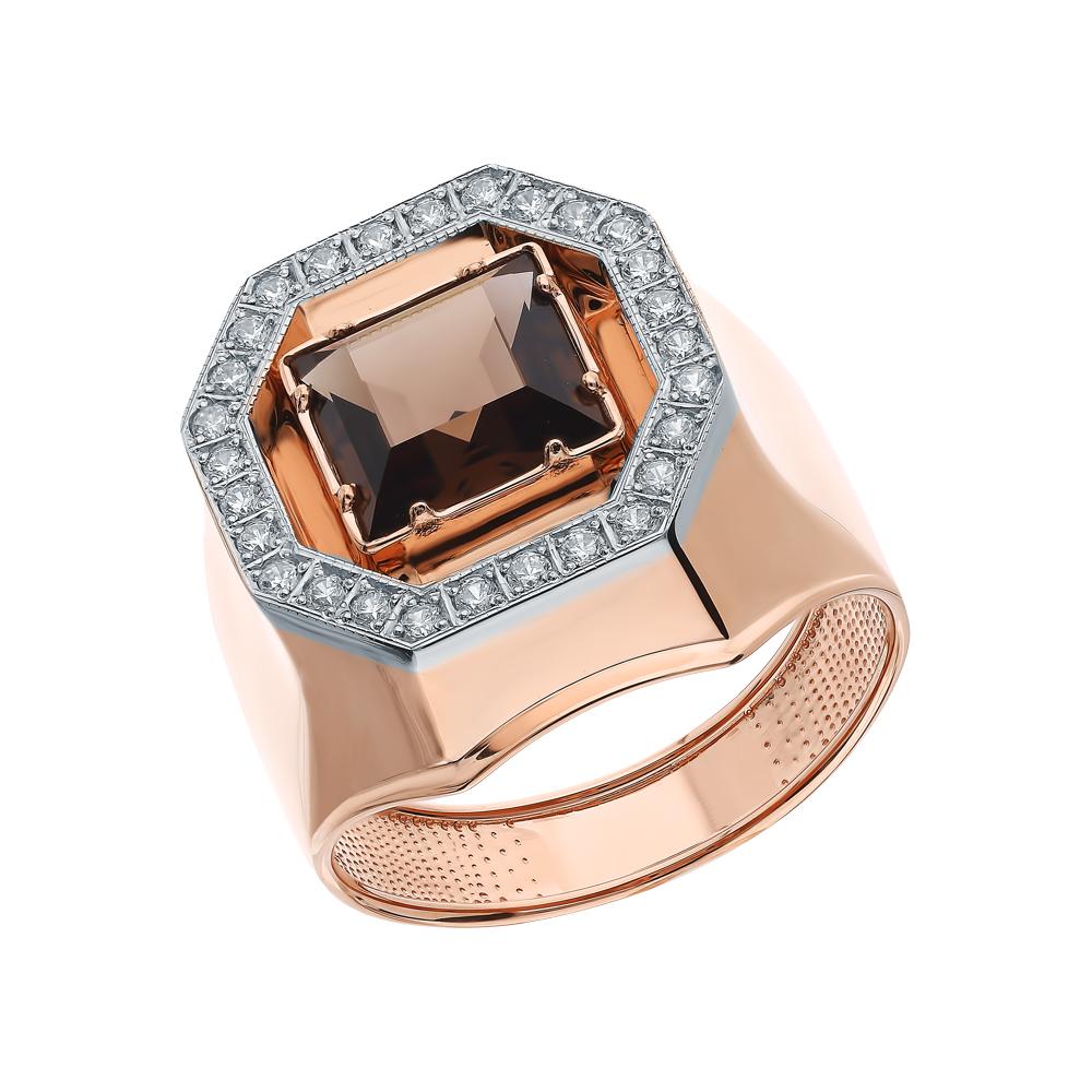 Фото «Золотое кольцо с кварцем и кубическими циркониями»